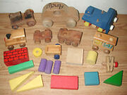 Vintage Wooden Toy Cars, Trucks, Tractors, And Wagons Plus Assorted Wood Pieces