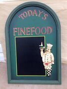 Kitchen Cafe Decor Today's Fine Food Gourmet Menu Board Chef Wood Wall Hanging