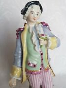 Antique Meissen German Porcelain Figurine Of Young Man With Flowers
