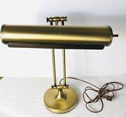 Vintage Brass Bankers Piano Music Note Table Lamp Light Mcm All Brass Anusta