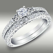 Celtic Trinity Knot Diamond Wedding Ring And Matching Band 14kt White Gold H/si2