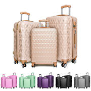 Hard Shell Pc+abs Cabin Suitcase 4 Wheel Travel Luggage Trolley Lightweight Case