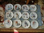 Norman Rockwell -four Seasons- 3 Sets Of Four Gorham Plates 1978- 1979- 1980