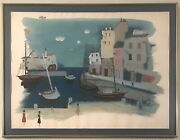 Stunning Watercolor Waterfront By Highly Collectible Artist Charles Levier