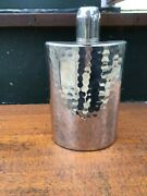 Silver Hand Hammered Liquor Flask Tin Lined 10 Oz Germany Good Looking
