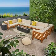 Krystin Outdoor 12 Piece U-shaped Sectional Sofa Set With Fire Pit