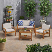 Parma Patio Acacia Wood 4-seater Conversation Set With Coffee Table And Sunbrell