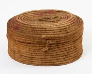 Antique Alaskan Inuit Coiled Basket With Latching Hinged Lid 9.5 W