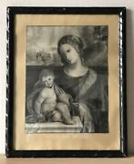 Antique Drawing Mary With Jesus Child Baroque Biblical Bible Religion Um 1800