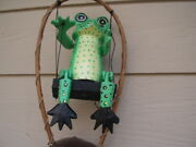 Painted Spotted Green Frog On A Swing And Coco Top Bamboo Wind Chimes Free Ship