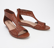 Clarks Collection Perforated Leather Wedges-abigail Ruby-tan-size 6-a352931-new