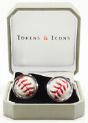 Los Angeles Dodgers Game Used Baseball Cuff Links - Tokens And Icons - Go Blue