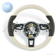 Oem Porsche Macan Whitewashed Oak Wood And Espresso Leather Steering Wheel 2015+