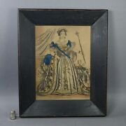 19th Century Engraving Queen Victoria Hand Coloured Print Painted Folk Art