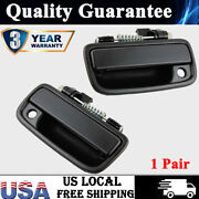 Pair Front Outside Door Handle Smooth Black For 95-04 Toyota Tacoma Pickup New