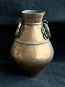 Large Antique Chinese Copper Pot Hand Hammered, Riveted, Lug Handles