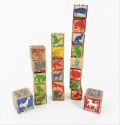 Vintage Children's Toy Abc Wooden Blocks Lot Of 21 Pictures Icebox Lion Owl 1940