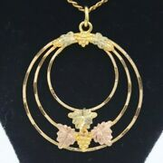 10k Black Hills Gold Pendant With Gold Filled 18 In Pull Back Clasp Chain 5.6g