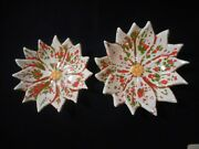 2 Vintage Poinsettia Trinket Candy Nesting Dishes Green Red White