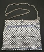 Whiting And Davis Silver Chain Mail Mesh Evening Bag With Shoulder Strap Chain Vtg