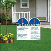 Ten Commandments Shaped Yard Sign With Stakes - Religious Yard Sign - Free Shipp