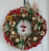 Handmade Rustic Lighted Wreath Christmas Ornaments Ribbons Flowers Bird And Bells