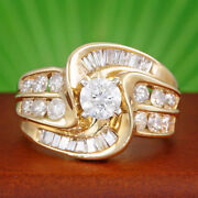 2 Carat Tw Diamond Wedding Ring Round And Baguette Cut 14k Yellow Gold 2.12 Ct