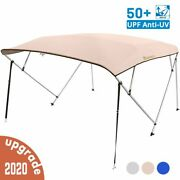 4 Bow Boat Bimini Top Cover Boat Canopy Shade With Support Pole Boot Beige 67-72