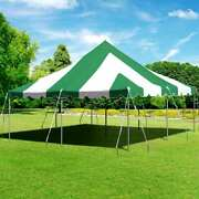 Premium 20x20' Pole Tent Green White Commercial Heavy Duty Vinyl Party Canopy
