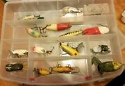 Fishing Lures Kit Mixed Of Homemade Wood And Others From 60s And 70s