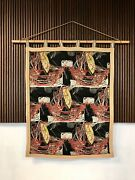 Italian Graphic Art Tapestry Wall Hanging Bamboo Tapesserie Wanbehang | 1940s