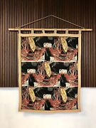 Italian Graphic Art Tapestry Wall Hanging Bamboo Tapesserie Wanbehang   1940s