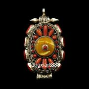 Tibet Buddhism Pure Silver Inlay Coral Beeswax Niche For Buddha Amulet Pendants