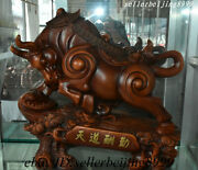 Old China Wood Fengshui 12 Zodiac Year Animal Ox Bull Oxen Pine Ruyi Coin Statue