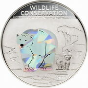 Cook 2013 Polar Bear 5 Dollars Prism Silver Coin,proof