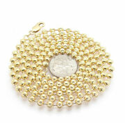 4mm Diamond Cut Moon Cut Bead Ball Chain Necklace Real Solid 10k Yellow Gold