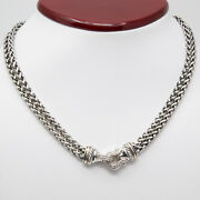 David Yurman 18k And 925 Sterling Silver, Double Wheat Chain Necklace.