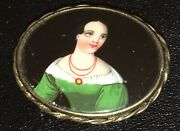 Antique Portrait Brooch Hand Painted Porcelain Cameo Early Colonial Pin C. 1830