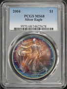 2004 American Silver Eagle Pcgs Ms-68 Rainbow Obverse