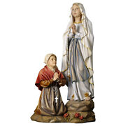 Our Lady Of Lourdes With St.bernadette Soubirous Woodcarved Statue