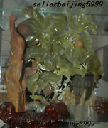 Chinese 100 Natural Afghanistan Jade Stone Carving Fengshui Flower Tree Statue