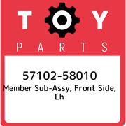 57102-58010 Toyota Member Sub-assy, Front Side, Lh 5710258010, New Genuine Oem P