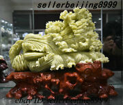 Collect Old Chinese Natural Lantian Jade Carving Fengshui Chinese Cabbage Statue