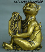 Chinese Brass Fengshui 12 Zodiac Year Animal Monkey Blessing Yuanbao Coin Statue