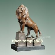 32cm Western Art Deco Bronze Jungle King Male Lion King Simba Abstract Sculpture