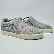 Ash Intense Gray Snake Scale Skate Gold Zipper Sneakers Womens Shoes 41 Us 10