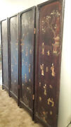 4 Antique Japanese Shibayama Panel Meiji Period Carved Wood/jade/mother Pearl