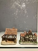 2 David Winter Little Market Cottage 1980 Hand Made England Apothecarys Shop1985