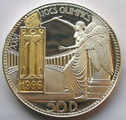 Andorra 1996 Angel Torch 50 Diners Gold Plated 4.62oz Silver Coin,proof