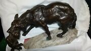 Bronze Wolf Sculpture Of Mother And Cub